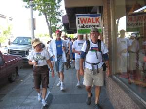 Richard Nichols leading the way down Main Street