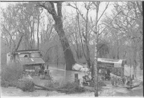 Sebastopol's hobo jungle during a flood in 1940