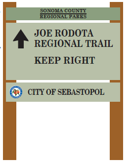 Joe Rodota trail sign in Sebastopol